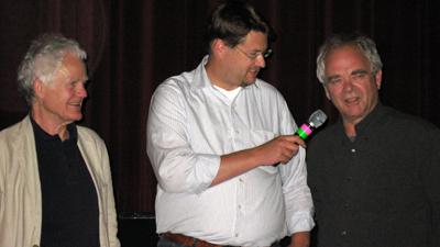 Walter Stapper and Götz Burger (both from the The Golden Nazi Vampire of Absam: Part II – The Secret of Kottlitz Castle-Cast) with Festival Director Martin Blankemeyer